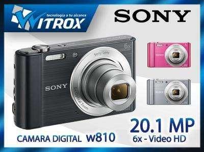 Camara digital sony cybershot 20.1mp w810, memoria 8gb nuevos en caja