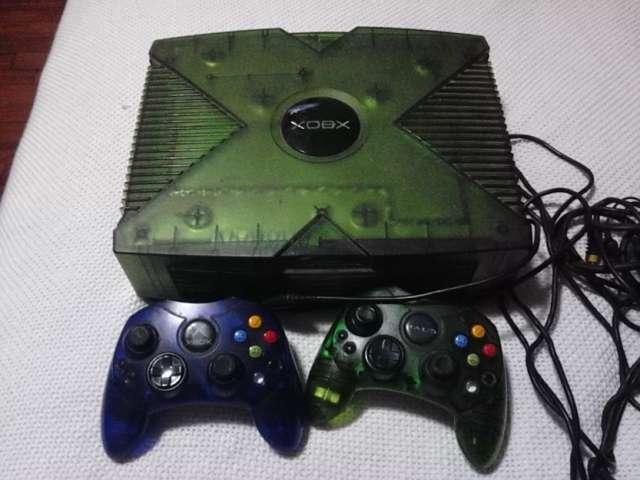 Original de halo edición especial verde microsoft consola xbox y controles