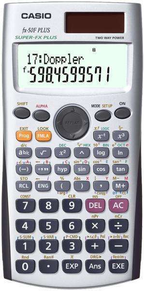 Una calculadora científica fx50f plus con su respectivo manual