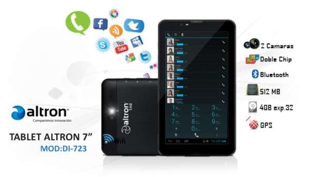 Tablet celular altron di723 8gb 83g 2 chips