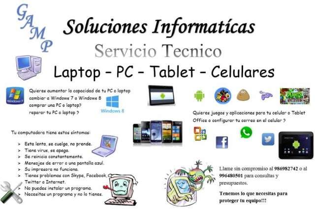 Servicio tecnico computadoras y tablest
