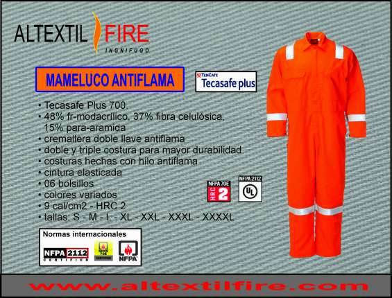 Ropa antiflama certificada, pantalon ignifugo, uniforme riesgo de arco electrico nfpa 2112