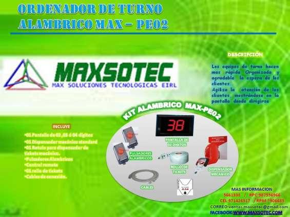 Kit ordenador de turnos con pantalla electronica/maxsotec eirl/solicite cotizacion