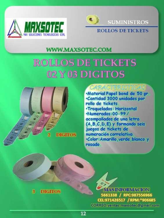 Rollos de tickets de 2 y 3 digitos/maxsotec eirl/contactenos