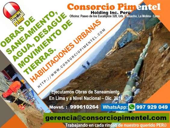 Obras de saneamiento agua, desagüe, alcantarillado, reservorios, perú 2018
