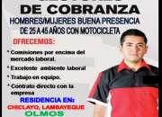 SE REQUIERE GESTORES DE COBRANZAS