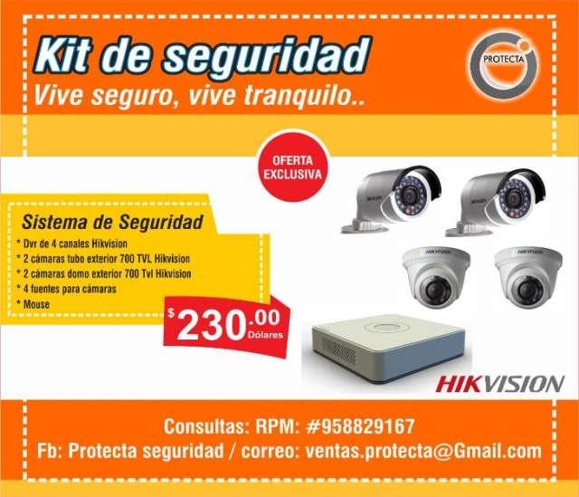 Kit 4 cámaras de seguridad hikvision | 230 $