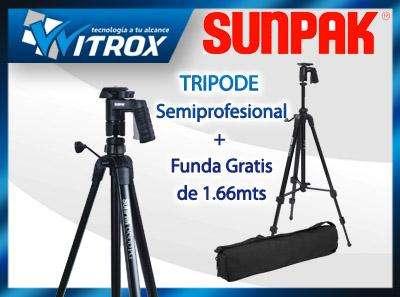 Tripode sunpak alt.1.66 mt. semiprofesional con funda