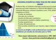 Asesoria estadística para tesis de pre grado y post grado