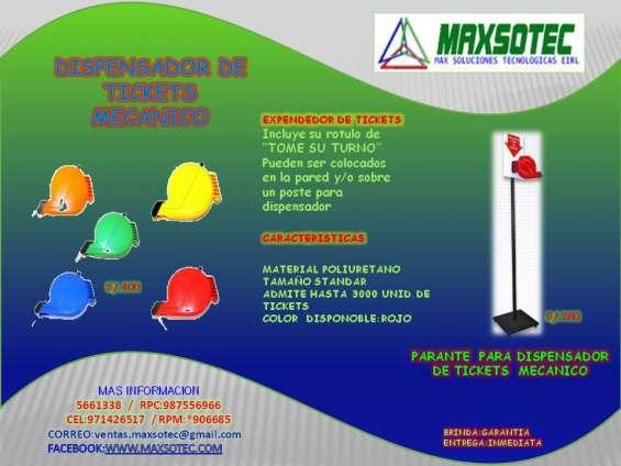 Dispensador de tickets + parante de metal/maxsotec /solicite su cotizacion
