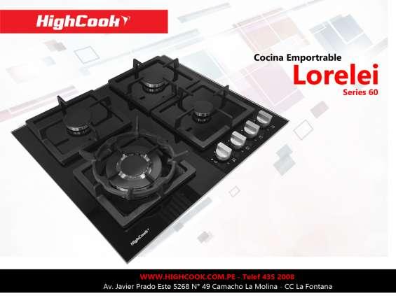 Cocina a gas highcook modelo lorelei - 4 hornillas - corte de gas y encendido electrico