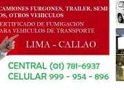 Servicio de fumigacion, fumigaciones de camiones, certificado de fumigacion