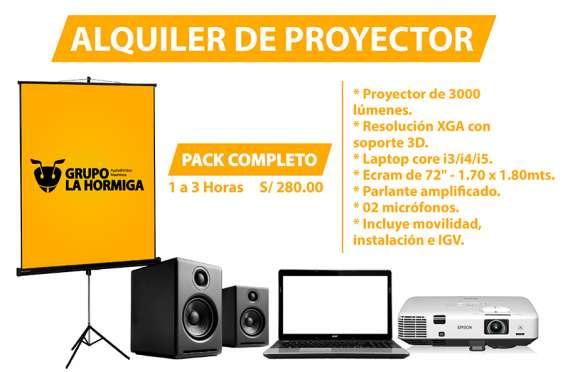 Proyector multimedia + ecran + laptop + parlantes + micrófonos paquete completo